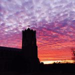 Sunset over St Mary Church Coddenham
