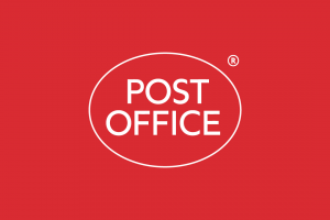 Post Office Logo white on red background