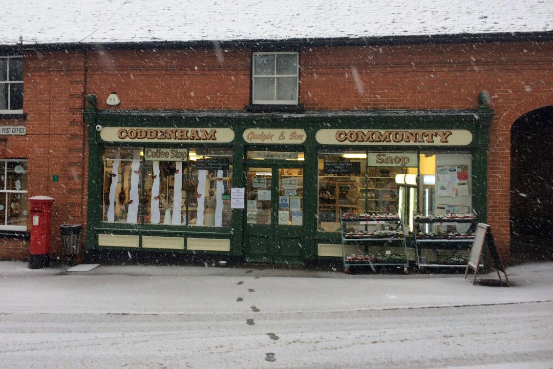 Coddenham Community Shop winter snow Feb 2021
