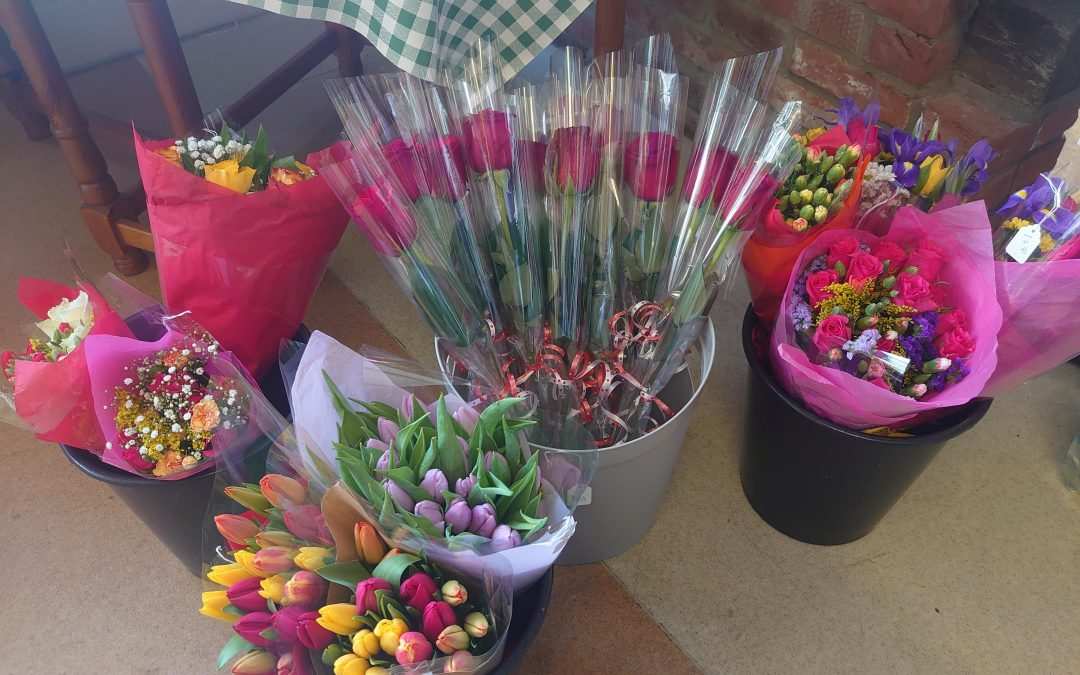 Valentine's Day flowers at Coddenham Community Shop