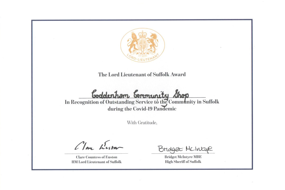 Suffolk Lord Lieutenant award certifacte for Coddenham Shop