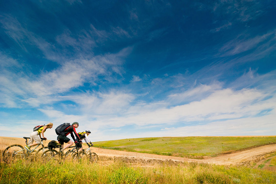 Thre cyclists on a cycleway with green fields and blue sky