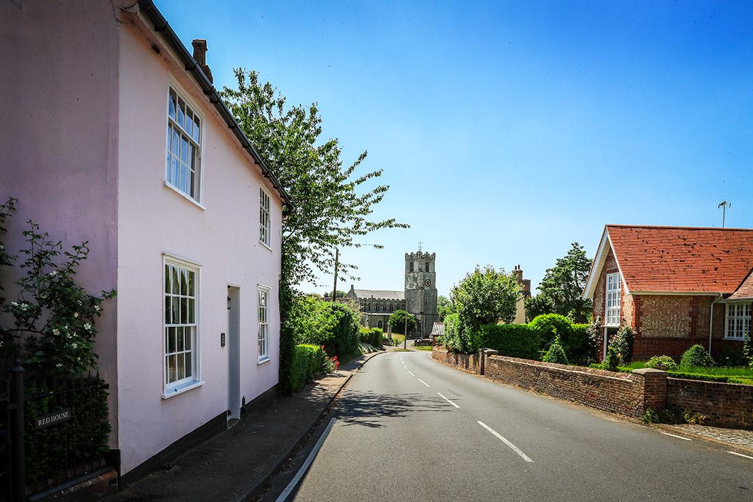 The view of St Mar's Church down Church Road Coddenham