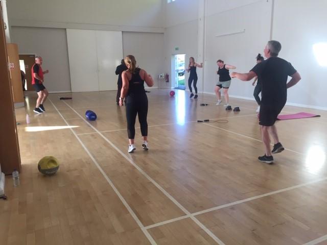 Group doing circuit training